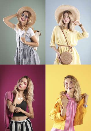 Collage of beautiful young woman posing on different color backgrounds