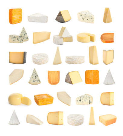 Set with different sorts of cheese on white background Фото со стока