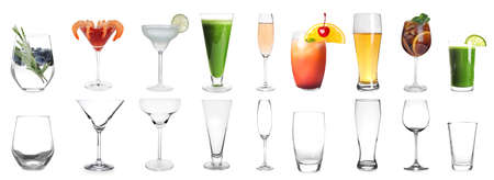 Collage with full and empty glasses on white background. Banner design Reklamní fotografie - 146379971