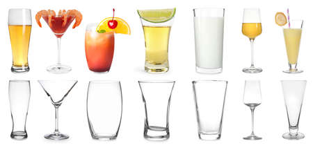 Collage with full and empty glasses on white background. Banner design
