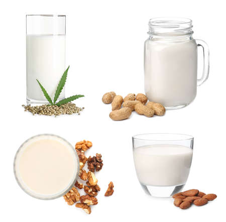 Set with different types of organic milk on white background. Natural drinks
