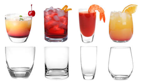 Collage with full and empty glasses on white background