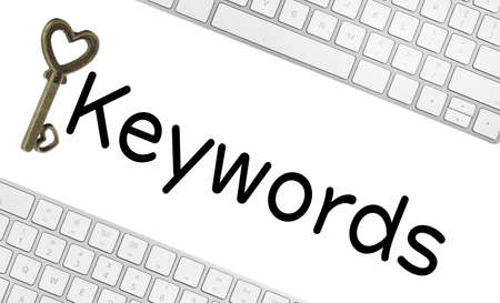 Word Keywords, computer keyboards and key on white background. SEO direction Imagens