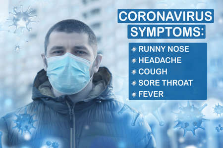 Man with medical mask outdoors and list of coronavirus symptoms Banco de Imagens