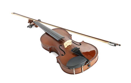 Beautiful classic violin and bow on white background. Musical instrument Standard-Bild