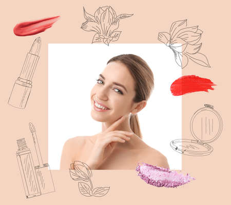 Beautiful woman and professional cosmetic products on color background. Makeup artist Banque d'images