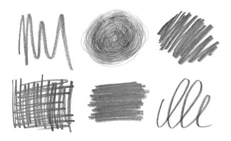 Collage of drawn pencil scribbles on white background Standard-Bild