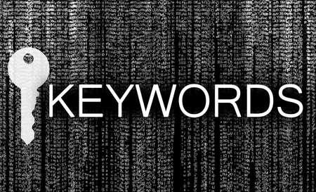 Word Keywords, key and digital code on black background. SEO direction