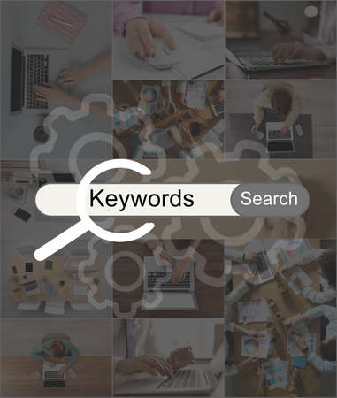 Keywords research concept. Collage with photos of SEO specialists and search bar Standard-Bild