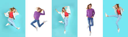 Collage with photos of woman in fashion clothes jumping on different color backgrounds. Banner design