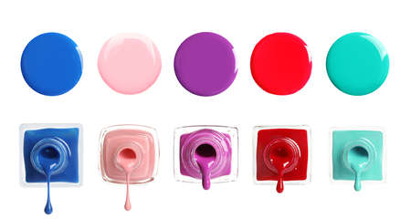 Set of different nail polishes on white background. Banner design