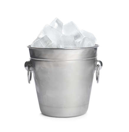 Metal bucket with ice cubes isolated on white Фото со стока
