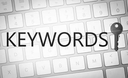 Word Keywords, key and computer keyboard. SEO direction Imagens