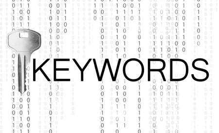 Word Keywords, key and binary code on white background. SEO direction Imagens