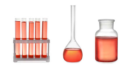 Set of laboratory glassware with red liquid on white background. Banner design