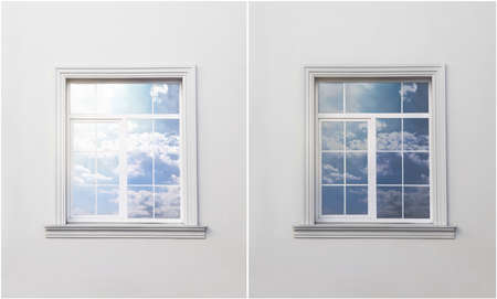 Wall with window before and after tinting
