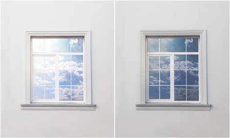 Wand mit Fenster vor und nach dem Abtönen