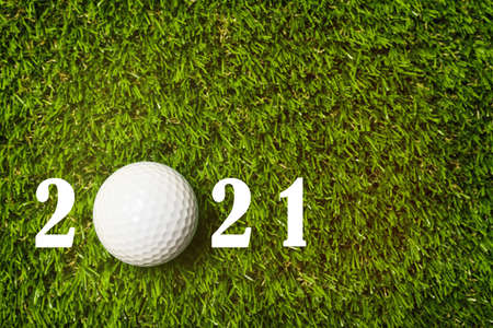 Invitation card design with ball for 2021 golf events. Space for text