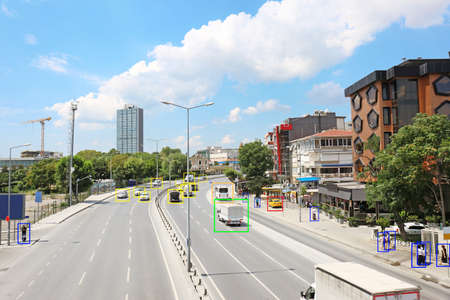 City road with scanner frames on cars and people. Machine learning