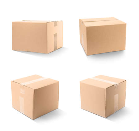 Set of closed cardboard boxes on white background