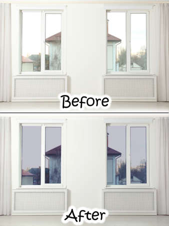 Empty room with windows before and after tinting Reklamní fotografie