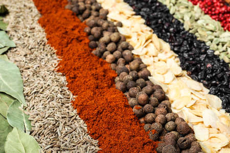 Set of different spices as background, closeup