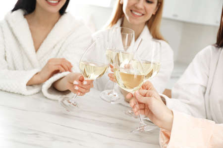 Beautiful young ladies clinking glasses of wine in kitchen, closeup. Women's Day