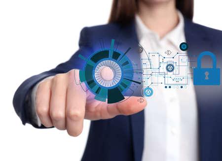 Cyber crime protection. Businesswoman touching digital symbol, closeup Banque d'images