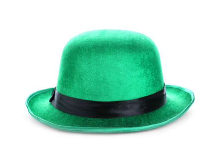 Green leprechaun hat isolated on white. St. Patrick's Day celebration Zdjęcie Seryjne