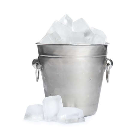 Metal bucket with ice cubes isolated on white 免版税图像