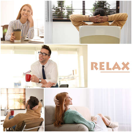 Collage of different people resting indoors and word Relax