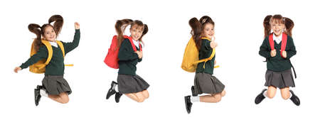 Collage of jumping girls in school uniform on white background. Banner design