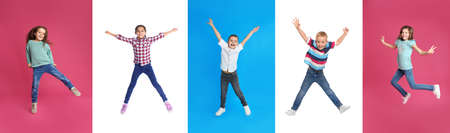 Collage of jumping schoolchildren on color backgrounds. Banner design