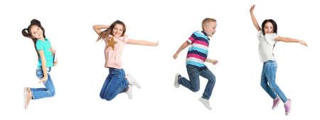 Collage of jumping schoolchildren on white background. Banner design