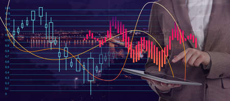 Financial charts, business woman and cityscape on background, closeup. Stock exchange trading Stockfoto