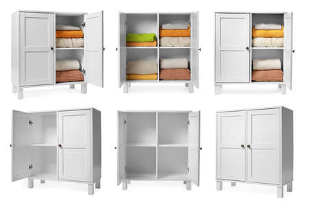 Collage of modern cabinets on white background