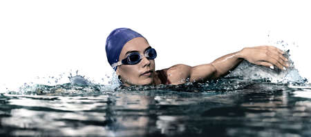 Young athletic woman swimming in pool against white background. Banner design