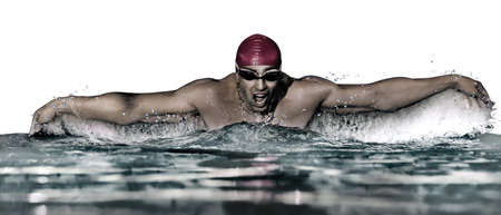 Young athletic man swimming in pool against white background. Banner design