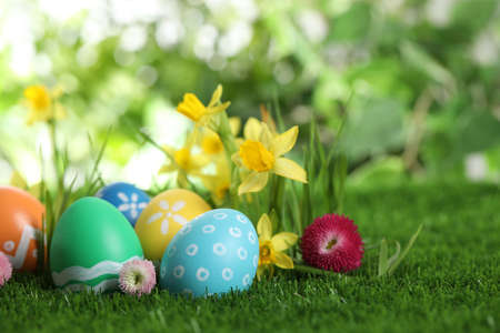 Colorful Easter eggs and flowers in green grass. Space for text