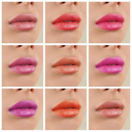 Jeune femme avec des rouges à lèvres de différentes couleurs, collage