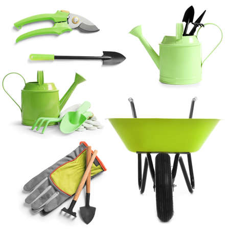 Set of different gardening tools on white background Archivio Fotografico
