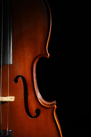 Classic violin on black background, closeup view