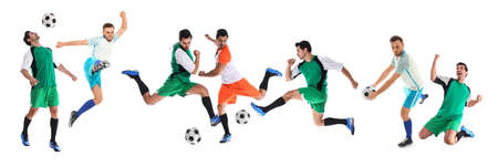 Collage with photos of young men playing football on white background. Banner design