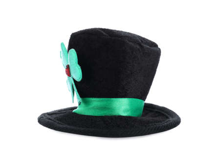 Black leprechaun hat with clover leaf isolated on white. St. Patrick's Day celebration