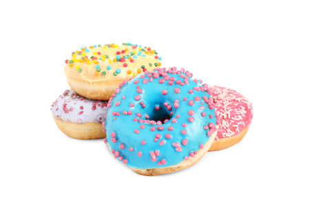 Sweet delicious glazed donuts on white background Stockfoto