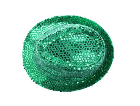 Green leprechaun hat isolated on white, top view. St. Patrick's Day celebration Zdjęcie Seryjne