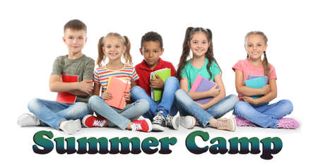 Group of little children with school supplies on white background. Summer camp