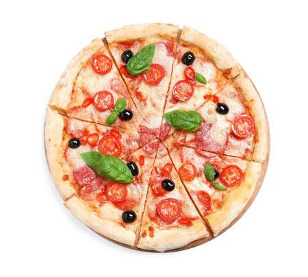 Delicious pizza Diablo isolated on white, top view Foto de archivo