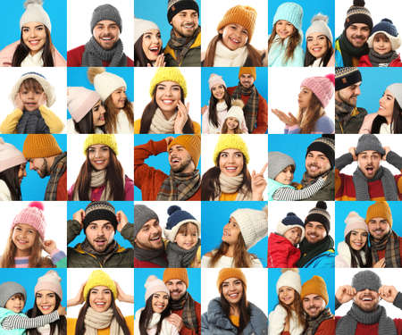 Collage with photos of people wearing warm clothes on different backgrounds. Winter vacation