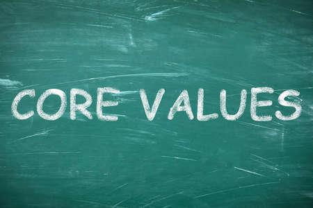 Phrase CORE VALUES written on green chalkboard 版權商用圖片